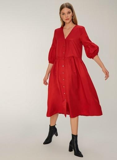 NGSTYLE Balon Kollu Midi Poplin Elbise Kırmızı